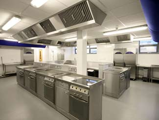 Ventilation units in catering school kitchen